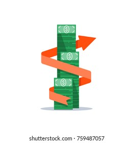 Income growth arrow, financial management, return on investment, budget expenses, mutual fund, bank savings account, interest rate, fund raising, money bills stack, dollar bundle vector flat icon