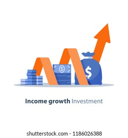 Income growth chart, banking services, financial report graph, return on investment, budget planning, mutual fund, pension savings account, interest rate, vector flat icon