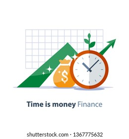 Income growth graph, money bag and clock face, return on investment chart, budget planning, time is money concept, arrow up, pension fund savings, superannuation illustration, vector flat icon