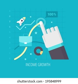 Income growth. Human hand is forming bezier curve on a graph to maximize the profit