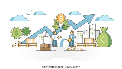 Income growth with profit and cash money savings investment outline concept. Successful earnings development as plant grow and watering scene vector illustration. Financial and economical progress.