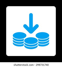Income icon from Commerce Buttons OverColor Set. Vector style is blue and white colors, flat square rounded button, black background.