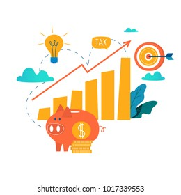 Income increase, financial strategy, high investment return, budget balance, fund raising, long term increment, revenue growth, interest rate, loan installment, credit money flat vector illustration