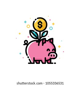 Income increase and make more money with budget planning and smart savings. Flat filled outline style icon with plant growing out of piggy bank. Pixel perfect. Editable stroke. Size 72x72 pixels