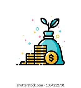 Income increase, return on investment and mutual fund raising concept with gold coins and plant growing out of money bag. Flat filled outline style icon. Pixel perfect. Editable stroke. 72x72