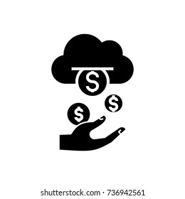 income - passive - stream - money icon, vector illustration, black sign on isolated background