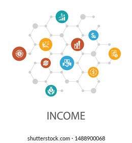 Income presentation template, cover layout and infographics.save money, profit, investment, profitability icons