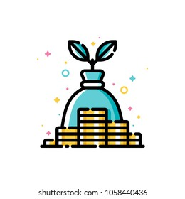 Income and revenue increase, return on investment and mutual fund raising concept with gold coins and plant growing out of money bag. Flat filled outline icon. 72x72 pixel perfect. Editable stroke