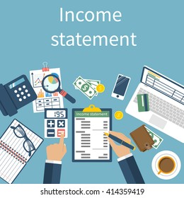 Income statement report. Accounting finance. Men write documents, statement of income. Vector illustration, flat design. Counting profit. Calculation money.