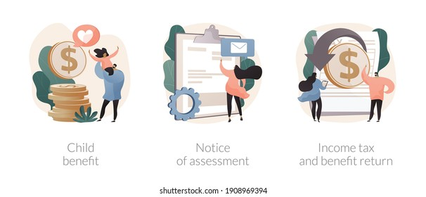 Income year abstract concept vector illustration set. Child benefit, notice of assessment, income tax and benefit return, dependent care costs, gather paperwork, social wealth abstract metaphor.