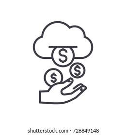 income,passive stream,money vector line icon, sign, illustration on background, editable strokes