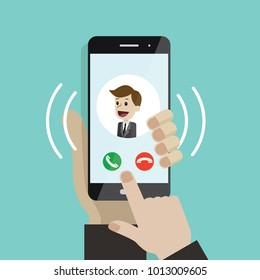 Incoming call. Human hand holding cellphone. Smartphone with call screen with man. Ready for answer concept. Modern flat design graphic elements and objects for business. Vector illustration
