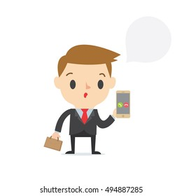 Incoming call  marketing boy on white background