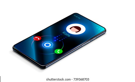 Incoming call on the phone. The phone is ringing. Smartphone isolated on white background. Perspective view.