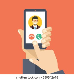 Incoming call on smartphone screen. Calling service. Hand holds smartphone, finger touch screen. Modern concept for web banners, web sites, infographics. Creative flat design vector illustration
