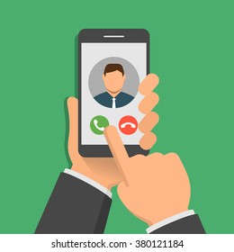 Incoming call on smartphone screen. One hand holds smartphone and finger touch screen. Flat design vector illustration