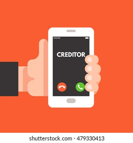 Incoming call on smartphone screen. Creditor, lifestyle. Hand holds smartphone. Vector flat illustration