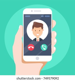 Incoming call on smartphone screen. Flat design vector illustration. Calling service. Modern concept for web banners, web sites, infographics. Creative flat design vector illustration