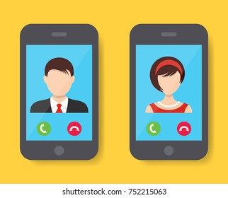 Incoming call on smartphone screen man and woman
