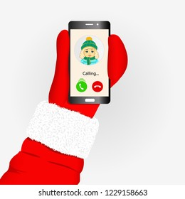Incoming call to Santa Claus from little girl. Hand of Santa holding smart phone isolated vector illustration