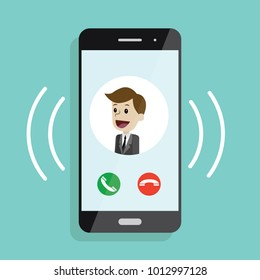 Incoming call. Smartphone with call screen with man. Ready for answer concept. Modern flat design graphic elements and objects for business. Vector illustration