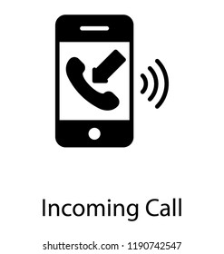 Incoming call symbol in mobile phone with signals