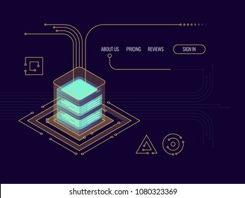 Incoming data flow, bigdata rpocessing concept, server room, cloud storage, database and data cneter icon isometric vector