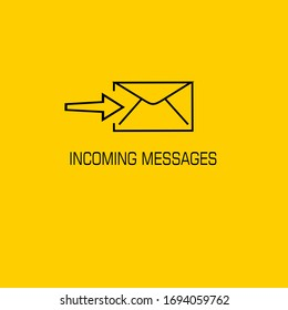 incoming messages. letter vector with orange background