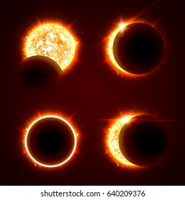 Incomplete and total solar eclipse on a black background vector illustration set. The Sun in the Shadow of the Moon picture collection.