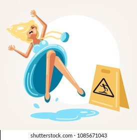 Inconsiderate woman character do not see warning yellow sign and slips fall on wet floor. Recklessness folly concept element. Vector flat cartoon design graphic isolated illustration