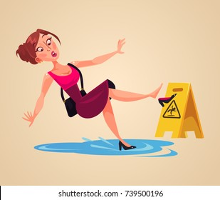 Inconsiderate woman character slips on wet floor. Vector flat cartoon illustration