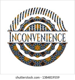Inconvenience arabesque emblem background. arabic decoration.