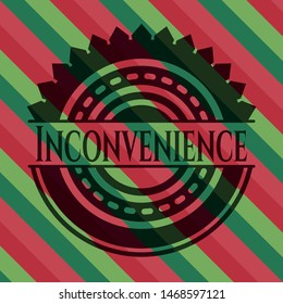 Inconvenience christmas colors style badge. Vector Illustration. Detailed.
