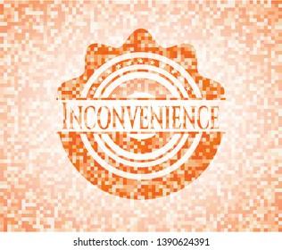 Inconvenience orange mosaic emblem with background