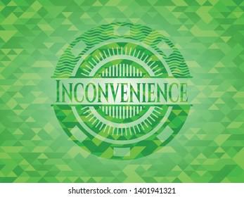 Inconvenience realistic green mosaic emblem. Vector Illustration. Detailed.