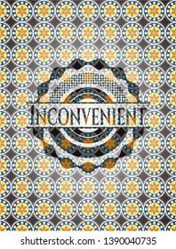 Inconvenient arabic badge. Arabesque decoration.