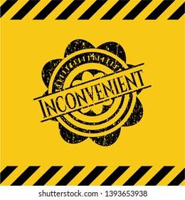 Inconvenient black grunge emblem, yellow warning sign. Vector Illustration. Detailed.