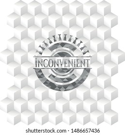 Inconvenient grey badge with geometric cube white background