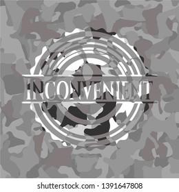 Inconvenient grey camouflaged emblem. Vector Illustration.