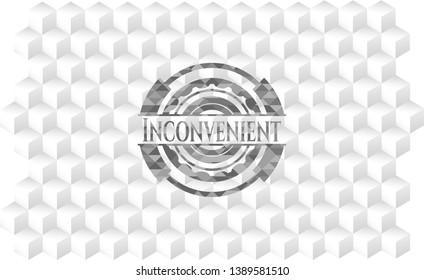 Inconvenient grey emblem with cube white background