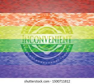 Inconvenient lgbt colors emblem. Vector Illustration. Mosaic.