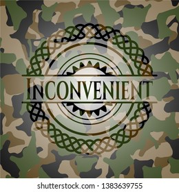 Inconvenient on camouflage texture. Vector Illustration. Detailed.