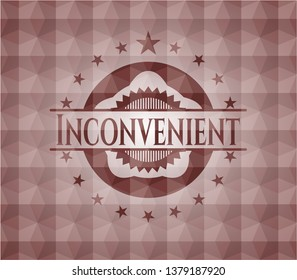 Inconvenient red seamless badge with geometric background.