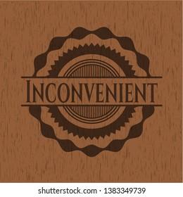 Inconvenient wooden emblem. Vector Illustration.