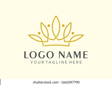 incorporation of the lotus flower logo and crown