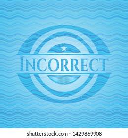 Incorrect sky blue water wave badge background. Vector Illustration. Detailed.