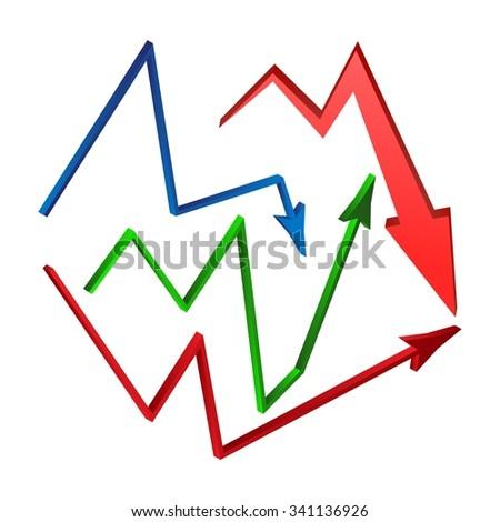 Increase Decrease Arrow Symbol Set Icon Stock Vector Royalty Free