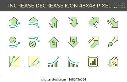 Increase decrease and arrow vector icon set, 48x48 pixel perfect and editable stroke.