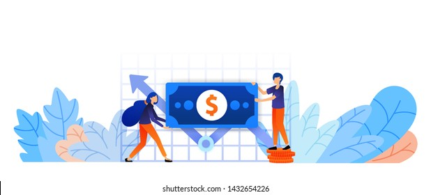 increase growth of assets to reach target. analysis of capital performance report to set strategy. game and craft business vector illustration concept for landing page, web, ui, banner, flyer, poster