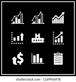 increase icon. 9 increase vector set. rating, bars graphic, results and bars graphic with ascendant arrow icons for web and design about increase theme
